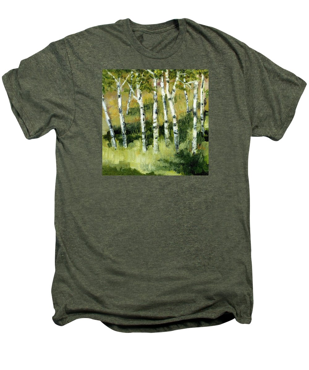 Trees Men's Premium T-Shirt featuring the painting Birches On A Hill by Michelle Calkins