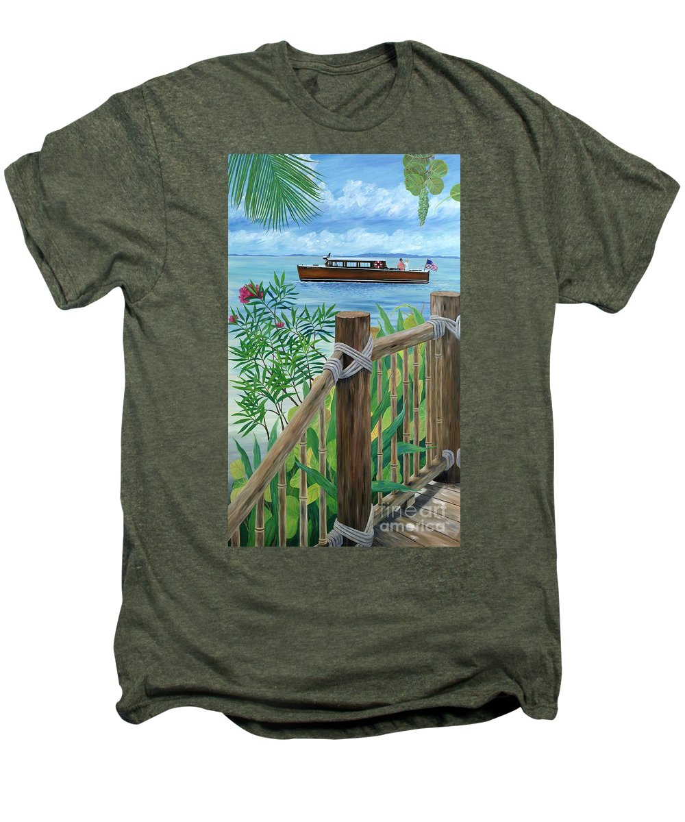 Island Men's Premium T-Shirt featuring the painting Little Palm Island by Danielle Perry