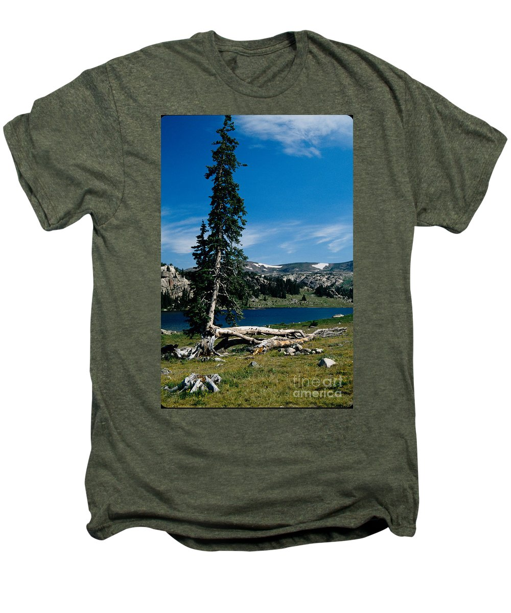 Mountains Men's Premium T-Shirt featuring the photograph Lone Tree At Pass by Kathy McClure