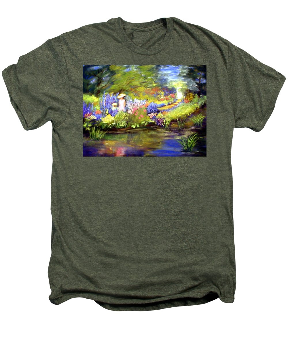 Flower Garden Men's Premium T-Shirt featuring the painting Mother And Daughter by Gail Kirtz