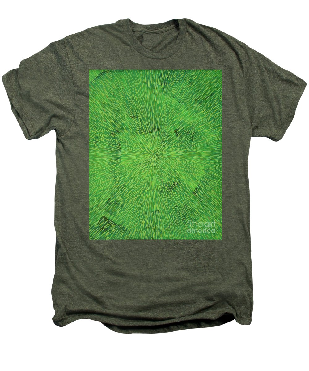 Abstract Men's Premium T-Shirt featuring the painting Radiation Green by Dean Triolo