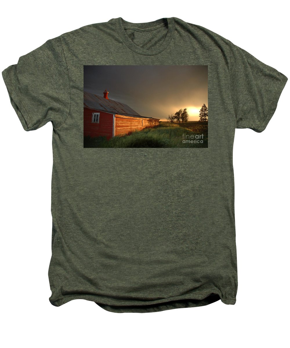 Barn Men's Premium T-Shirt featuring the photograph Red Barn At Sundown by Jerry McElroy