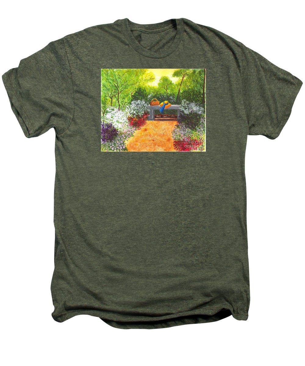 Garden Painting Men's Premium T-Shirt featuring the painting Sanctuary by Patricia Griffin Brett