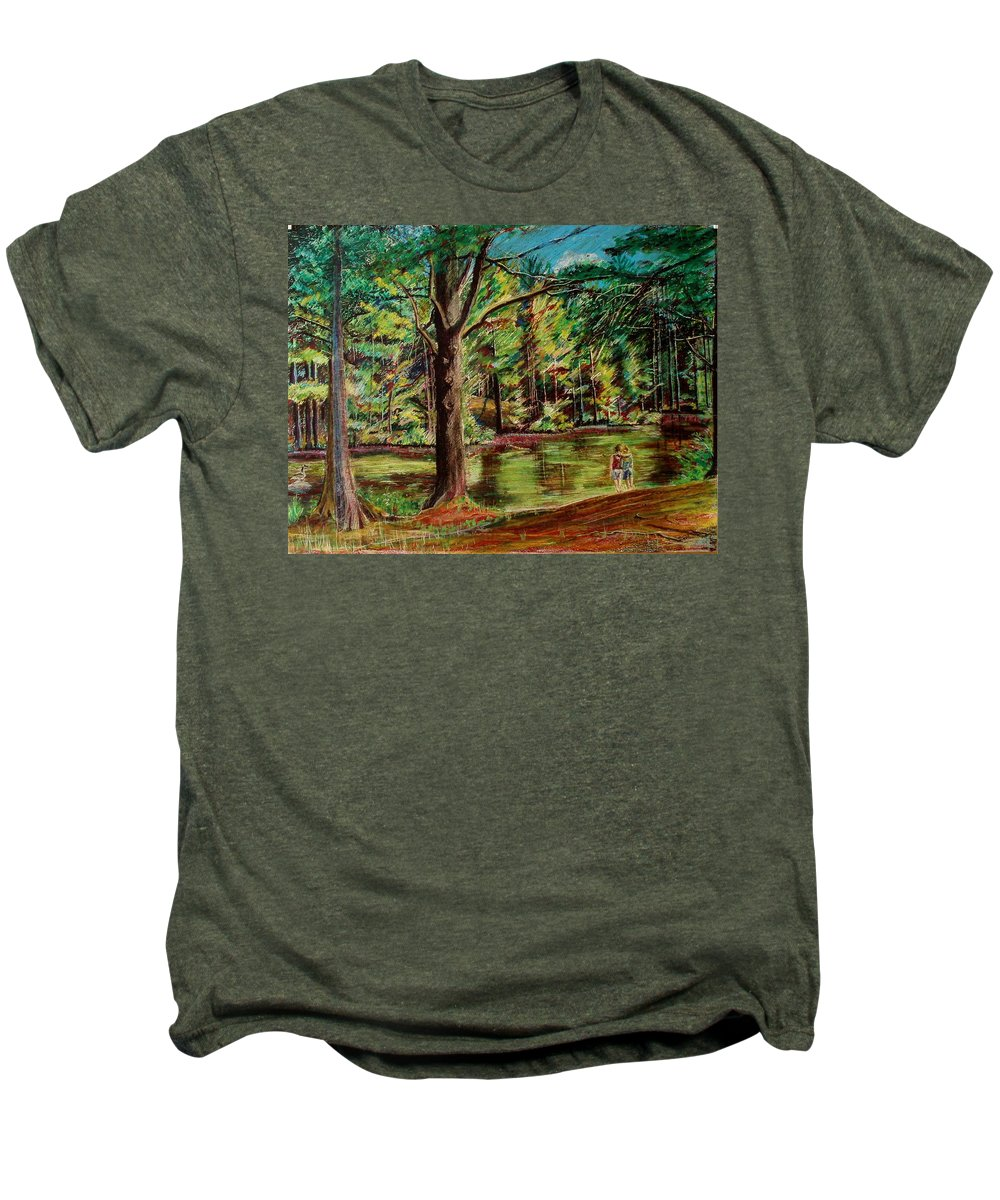 New Hampshire Men's Premium T-Shirt featuring the pastel Sisters At Wason Pond by Sean Connolly