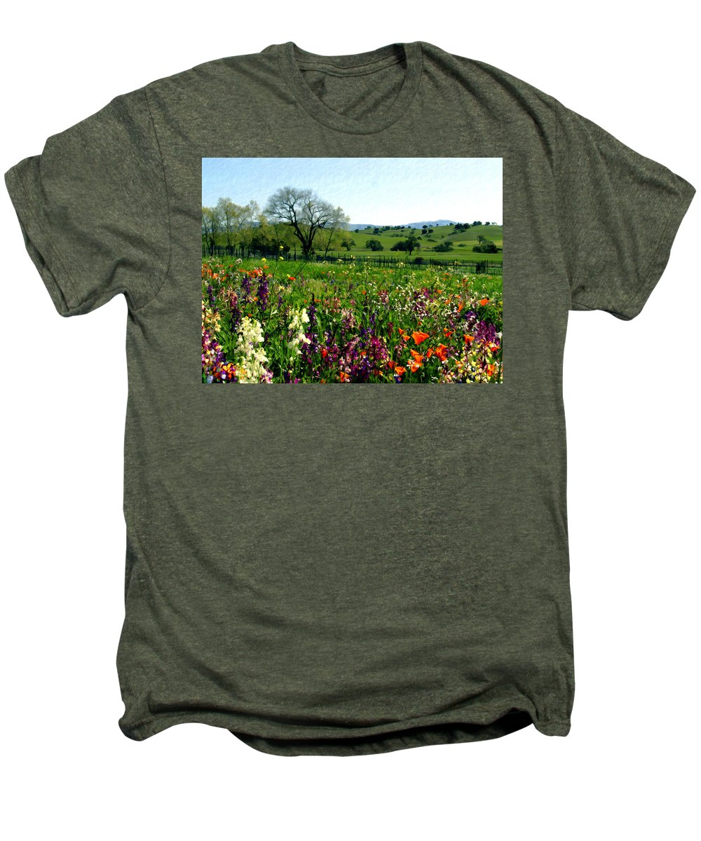 Flowers Men's Premium T-Shirt featuring the photograph Spring Bouquet At Rusack Vineyards by Kurt Van Wagner