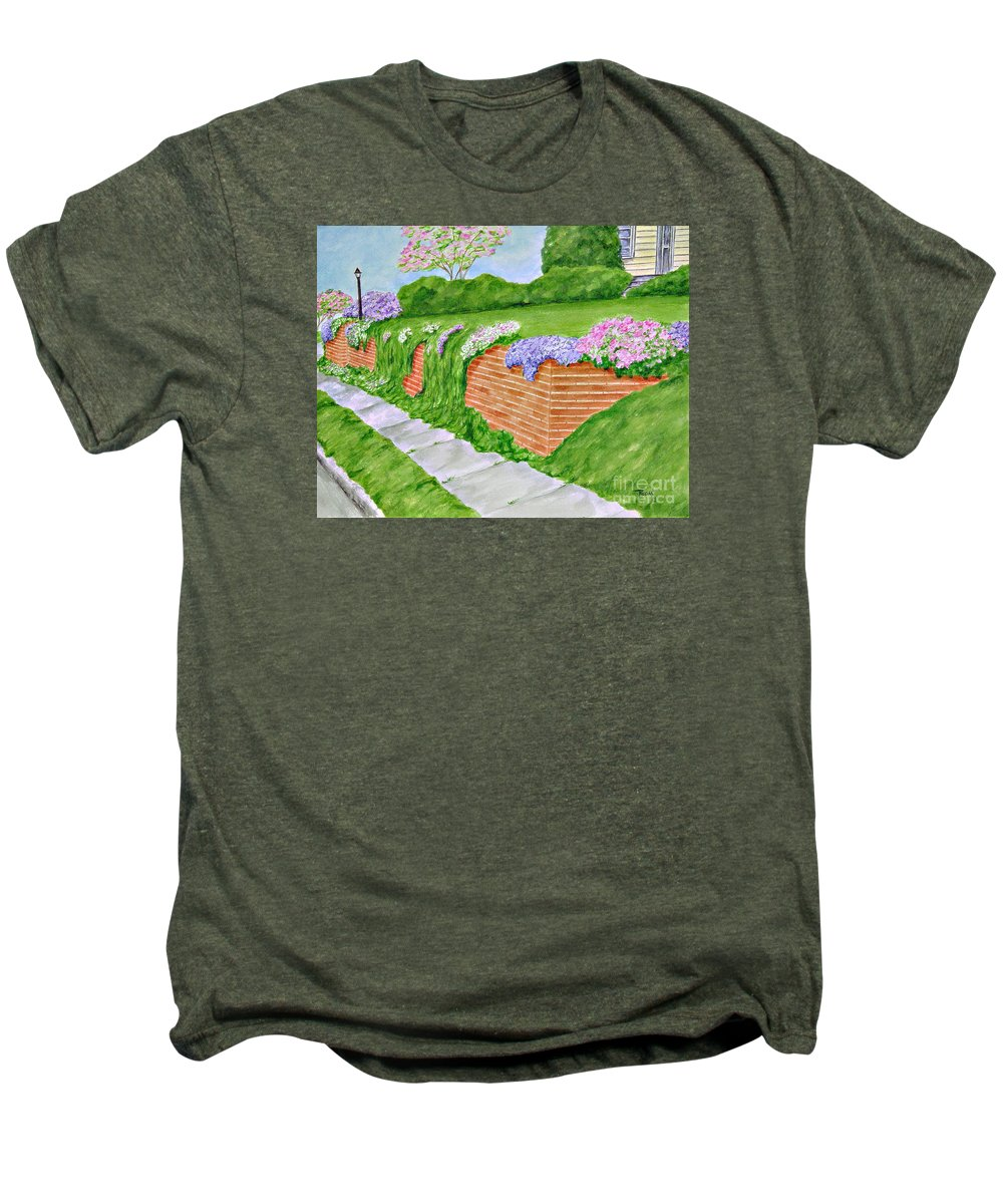 Landscape Men's Premium T-Shirt featuring the painting Wall Of Flowers by Regan J Smith