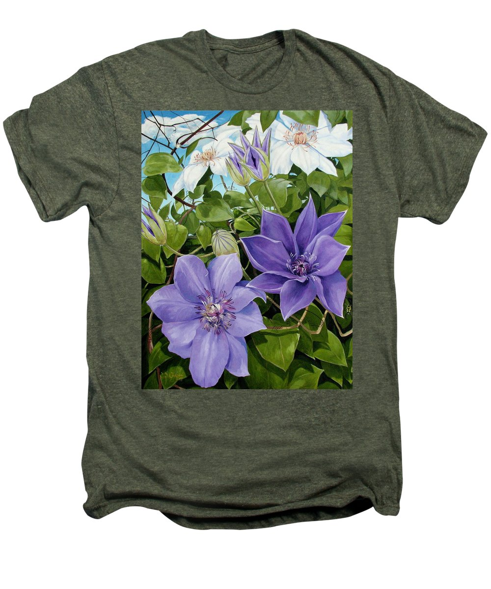 Clematis Men's Premium T-Shirt featuring the painting Clematis 2 by Jerrold Carton