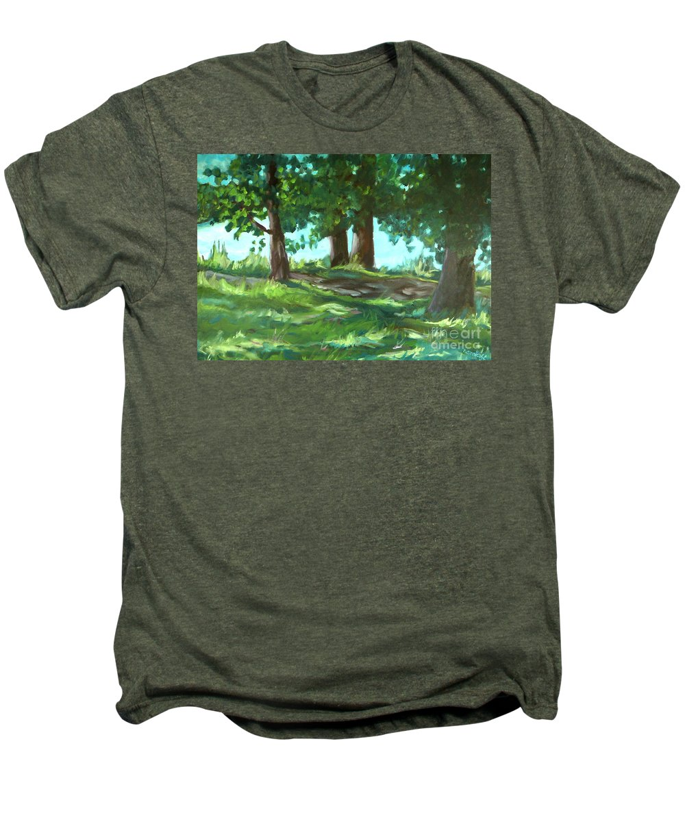 Expressionist Landscape Men's Premium T-Shirt featuring the painting Dreaming On Fellows Lake by Jan Bennicoff