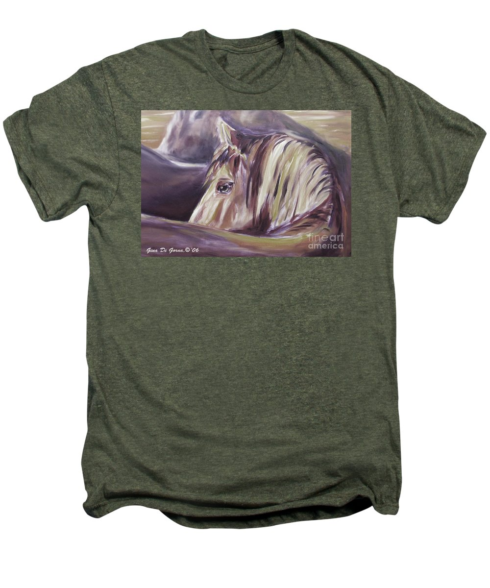 Brown Men's Premium T-Shirt featuring the painting Horse World Detail by Gina De Gorna