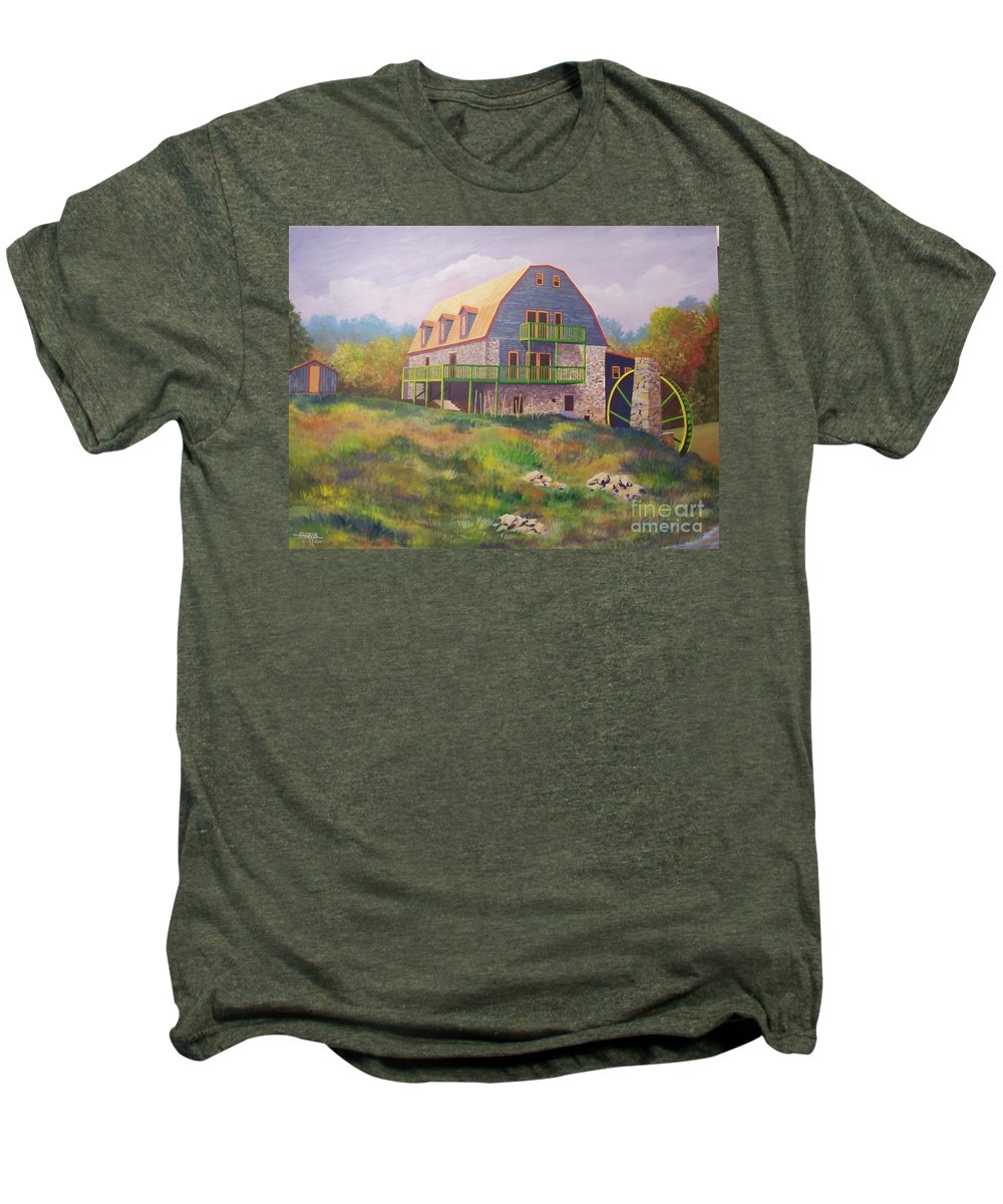 Mill Men's Premium T-Shirt featuring the painting Mountain Mill by Hugh Harris
