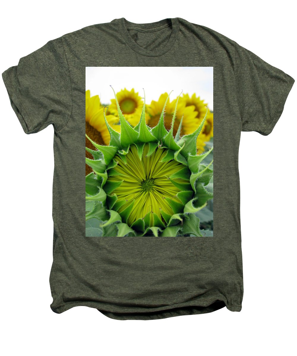 Sunflwoers Men's Premium T-Shirt featuring the photograph Sunflower Series by Amanda Barcon