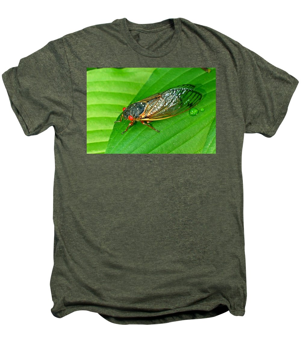 17 Men's Premium T-Shirt featuring the photograph 17 Year Periodical Cicada by Douglas Barnett