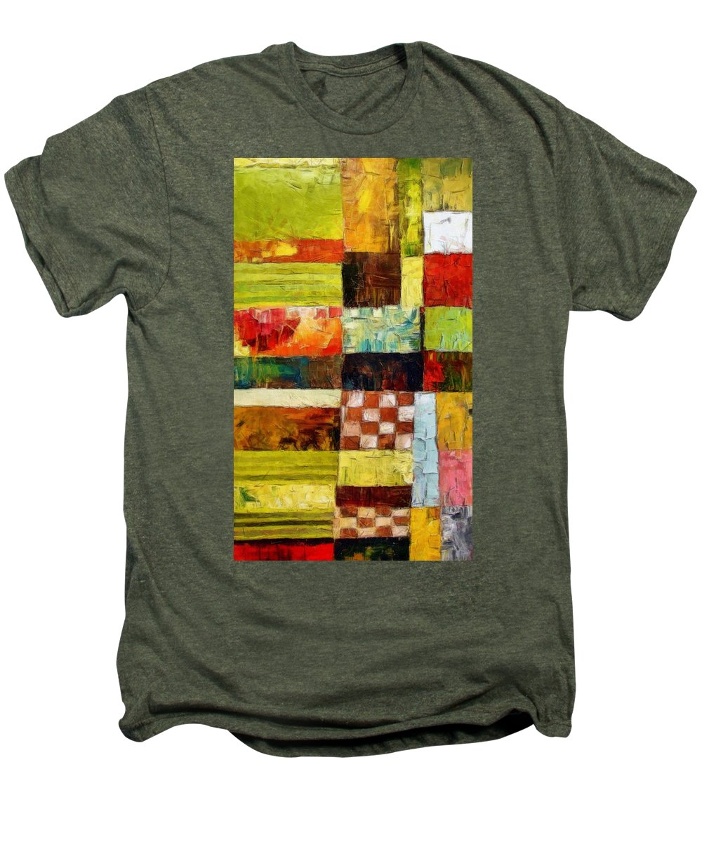 Patchwork Men's Premium T-Shirt featuring the painting Abstract Color Study With Checkerboard And Stripes by Michelle Calkins