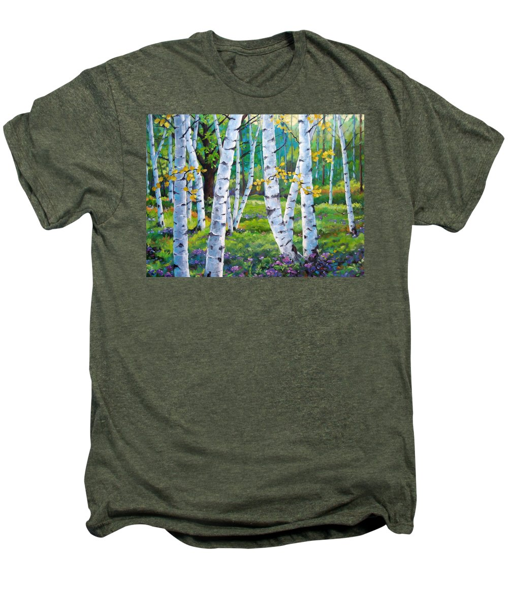 Birche; Birches; Tree; Trees; Nature; Landscape; Landscapes Scenic; Richard T. Pranke; Canadian Artist Painter Men's Premium T-Shirt featuring the painting Alpine Flowers And Birches by Richard T Pranke