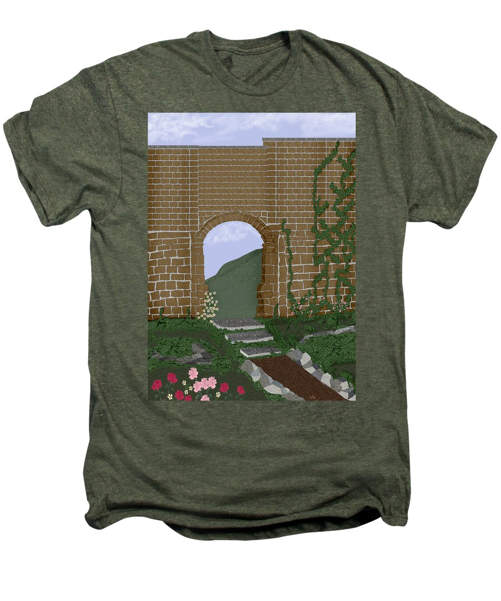 Irish Ruins Men's Premium T-Shirt featuring the painting Ancient Walls by Anne Norskog