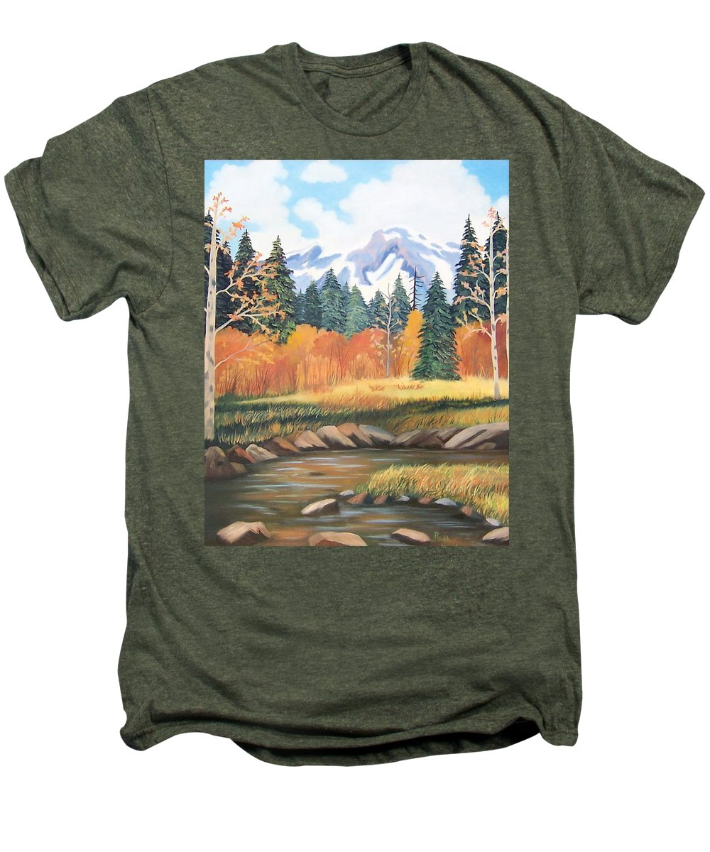 Landscape Men's Premium T-Shirt featuring the painting Autumn In The Mountans by Ruth Housley