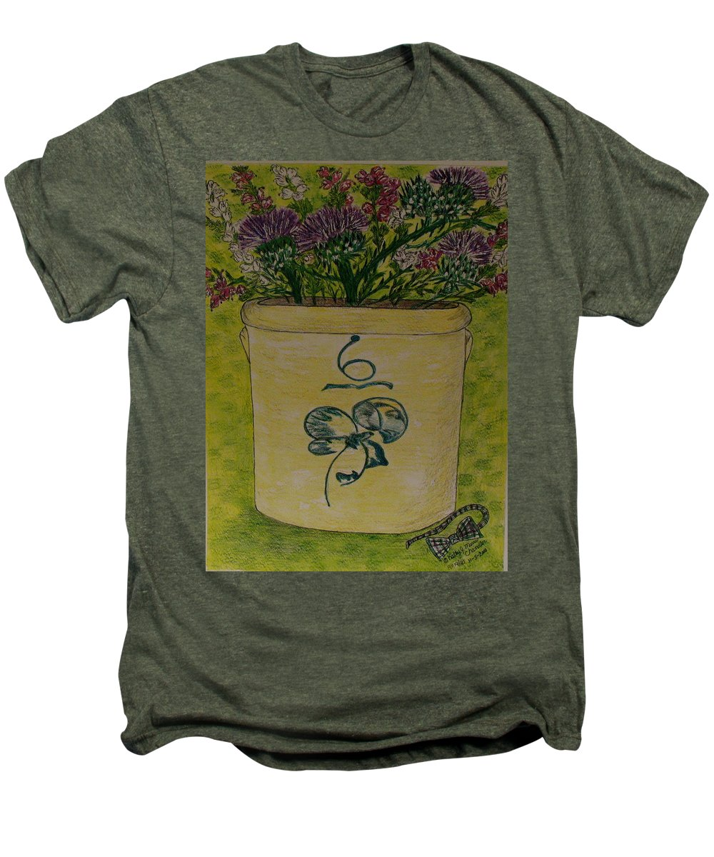 Bee Sting Crock Men's Premium T-Shirt featuring the painting Bee Sting Crock With Good Luck Bow Heather And Thistles by Kathy Marrs Chandler