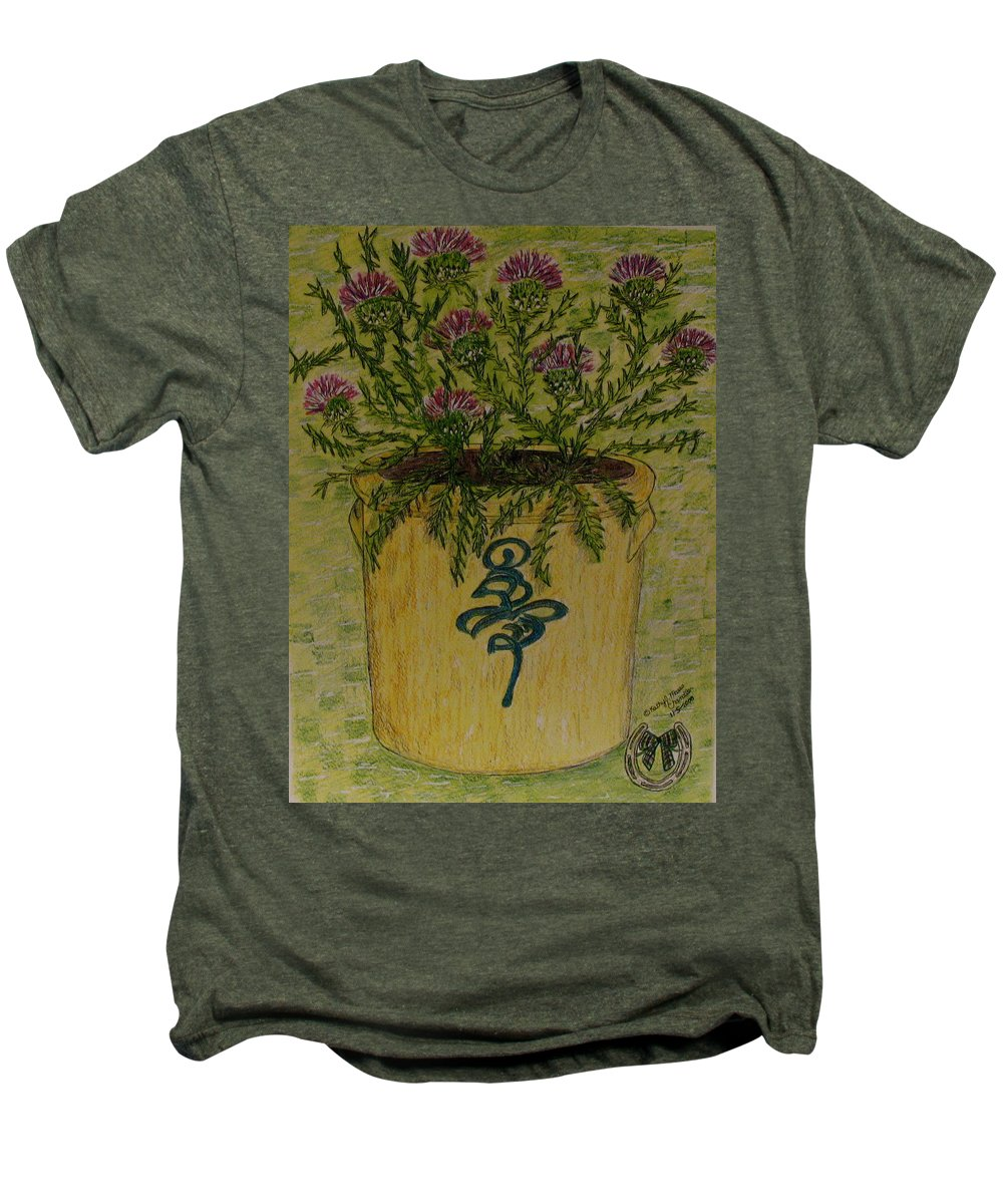 Vintage Men's Premium T-Shirt featuring the painting Bee Sting Crock With Good Luck Horseshoe by Kathy Marrs Chandler