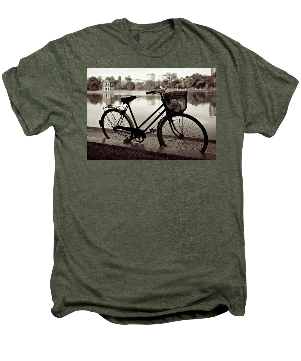 Bicycle Men's Premium T-Shirt featuring the photograph Bicycle By The Lake by Dave Bowman