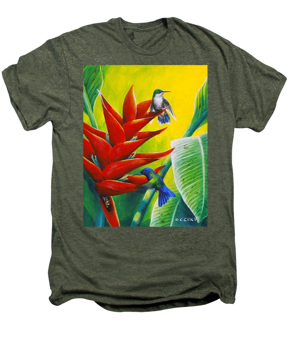Chris Cox Men's Premium T-Shirt featuring the painting Blue-headed Hummingbirds And Heliconia by Christopher Cox