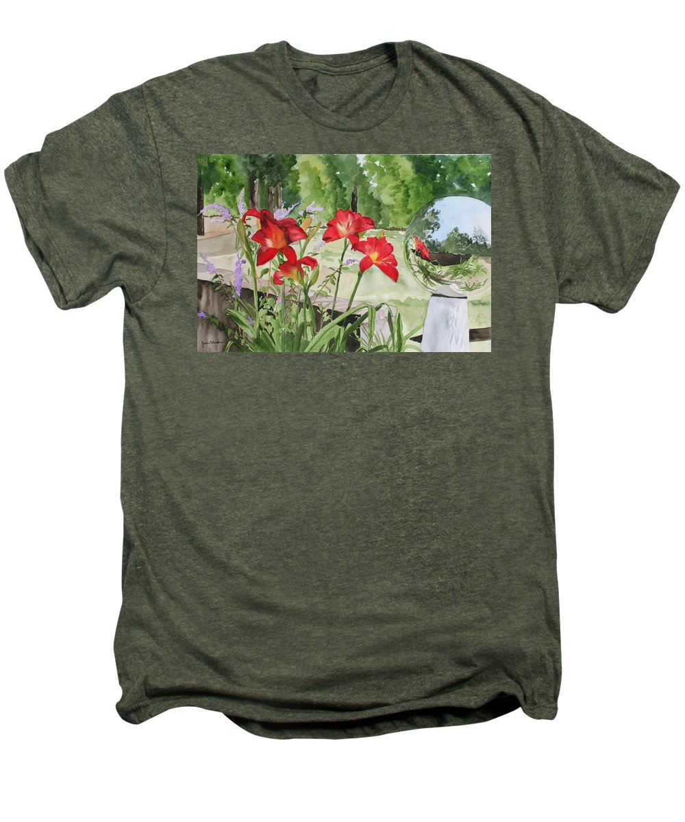 Flowers Men's Premium T-Shirt featuring the painting Blue Sky Reflections by Jean Blackmer