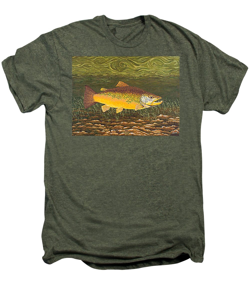Art Print Prints Canvas Framed Giclee Fine Brown Trout Fish Angler Angling Fishing Fishermen Decor Men's Premium T-Shirt featuring the painting Brown Trout Fish Art Print Touch Down Brown Trophy Size Football Shape Brown Trout Angler Angling by Baslee Troutman