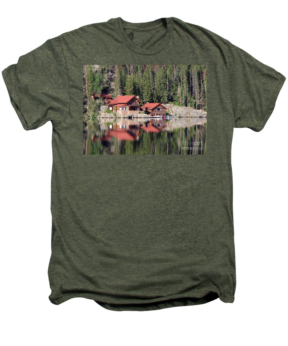 Cabin Men's Premium T-Shirt featuring the photograph Cabin by Amanda Barcon