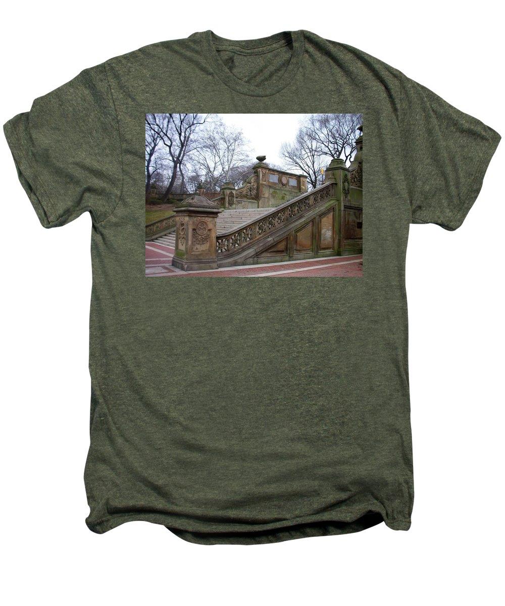 Central Park Men's Premium T-Shirt featuring the photograph Central Park Bethesda 1 by Anita Burgermeister