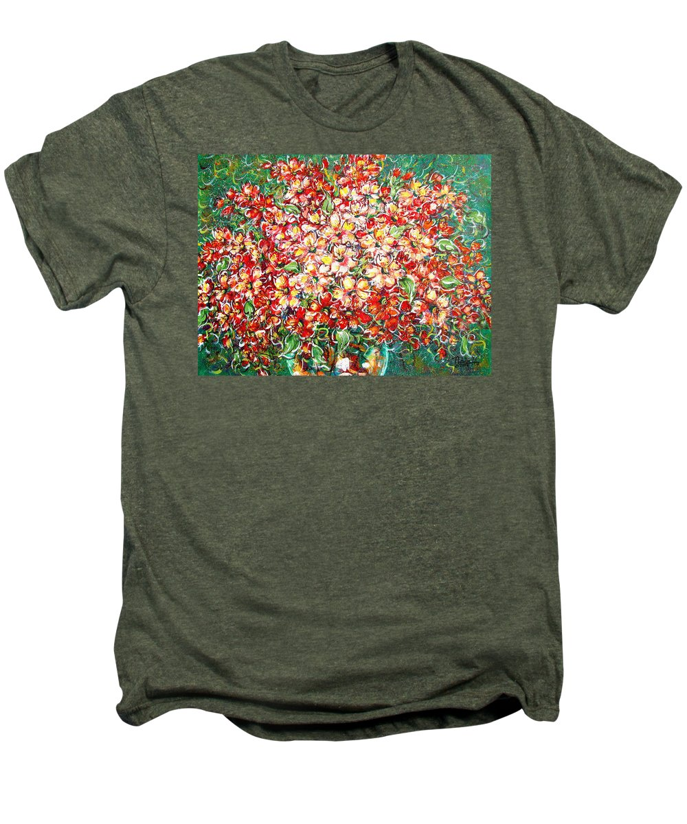 Flowers Men's Premium T-Shirt featuring the painting Cottage Garden Flowers by Natalie Holland