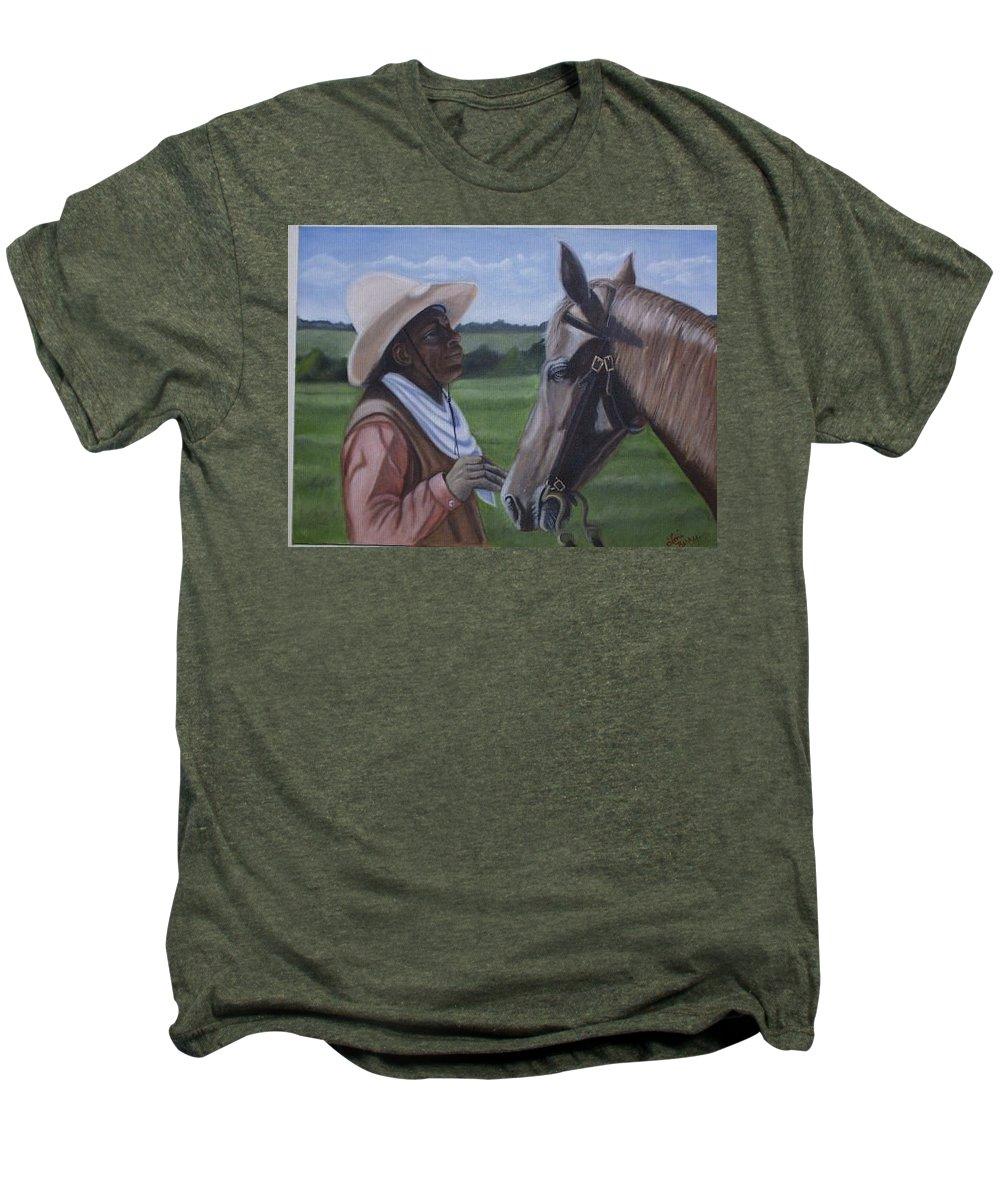 Portrait Men's Premium T-Shirt featuring the painting Cowboy2 by Toni Berry