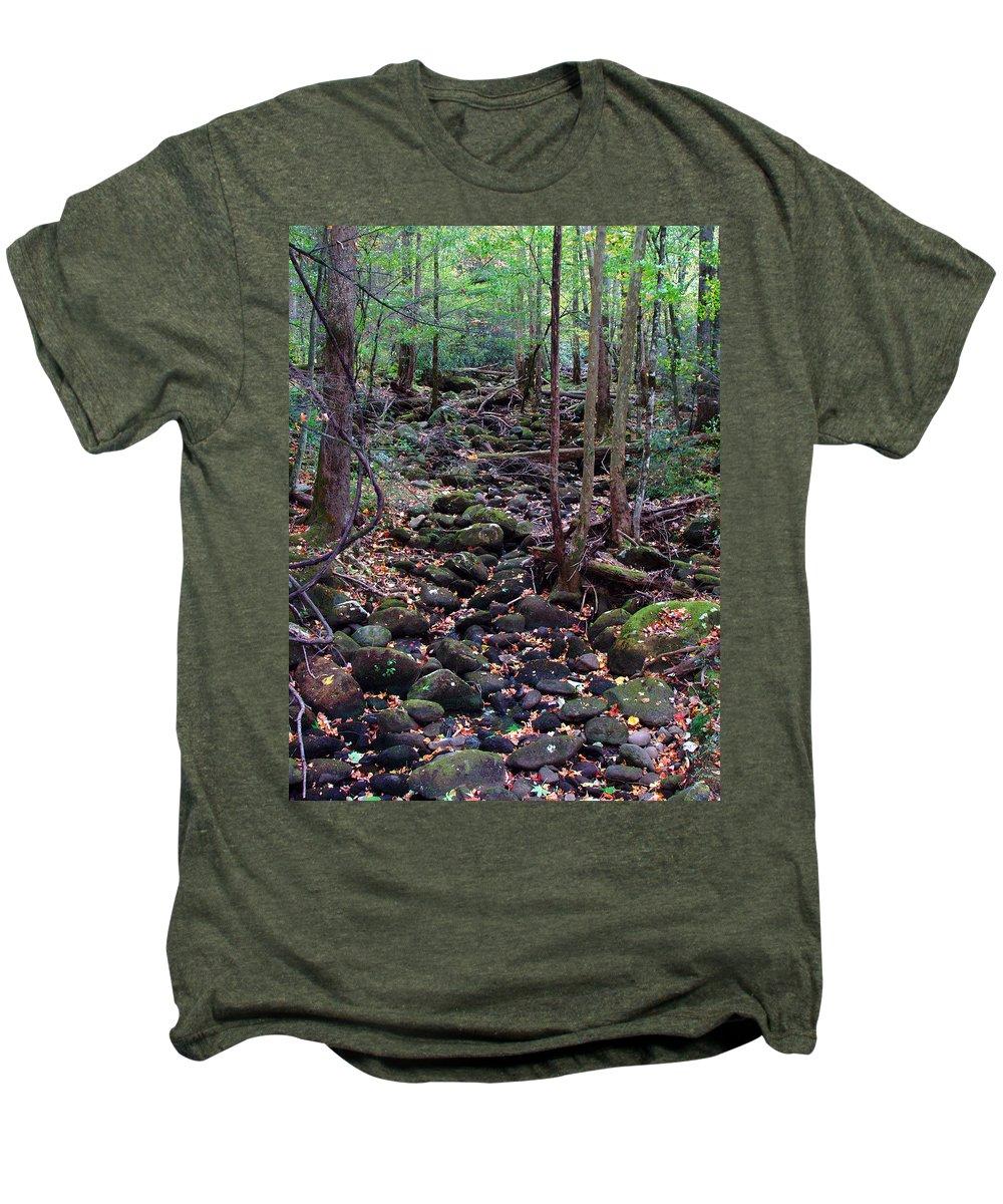 River Men's Premium T-Shirt featuring the photograph Dry River Bed- Autumn by Nancy Mueller