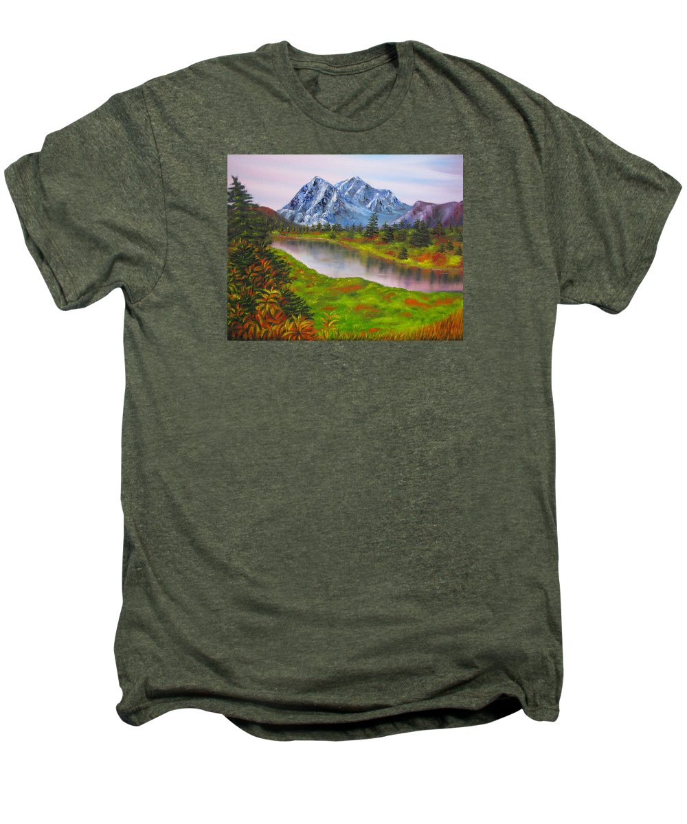 Fall Men's Premium T-Shirt featuring the painting Fall In Mountains Landscape Oil Painting by Natalja Picugina