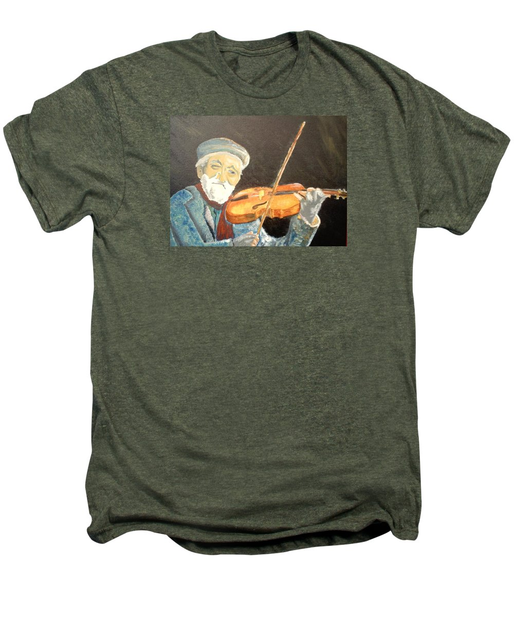 Hungry He Plays For His Supper Men's Premium T-Shirt featuring the painting Fiddler Blue by J Bauer