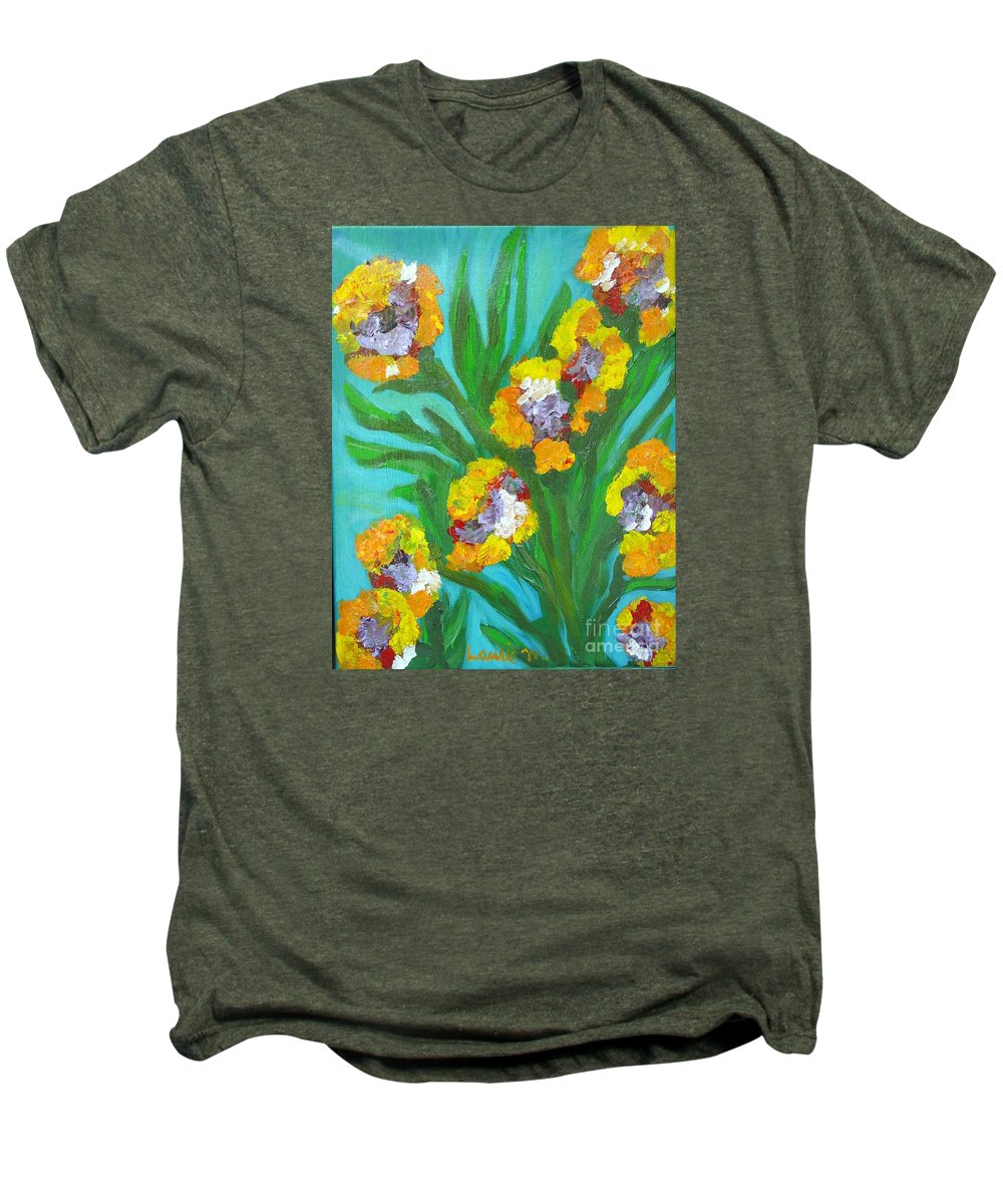 Flower Men's Premium T-Shirt featuring the painting Fire Blossoms by Laurie Morgan