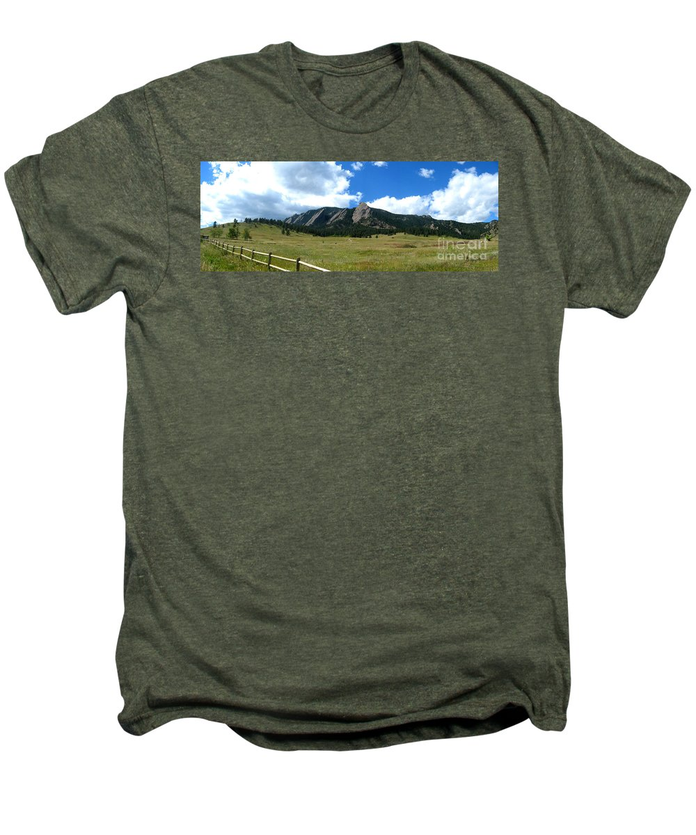 Flatiron Men's Premium T-Shirt featuring the photograph Flatirons Panorama by Thomas Marchessault