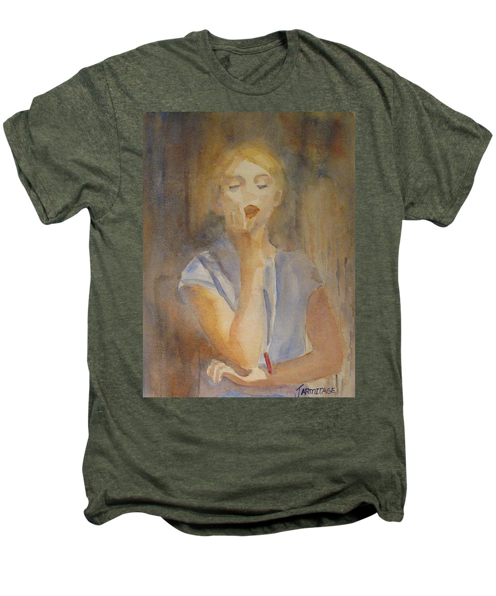 Woman Men's Premium T-Shirt featuring the painting Forest Singer by Jenny Armitage