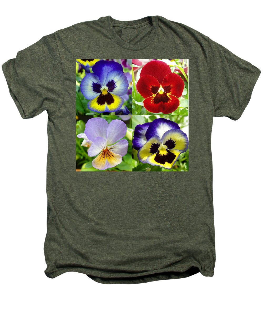 Pansy Men's Premium T-Shirt featuring the photograph Four Pansies by Nancy Mueller