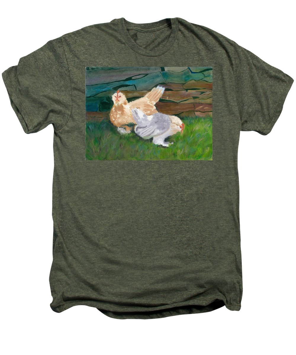 Chickens Bantams Countryside Stonewall Farm Men's Premium T-Shirt featuring the painting Fowl Play by Paula Emery