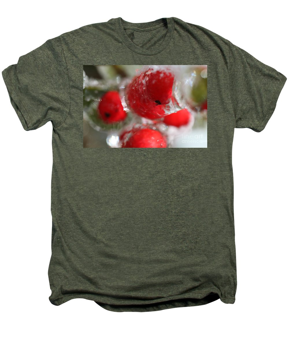 Berries Men's Premium T-Shirt featuring the photograph Frozen Winter Berries by Nadine Rippelmeyer