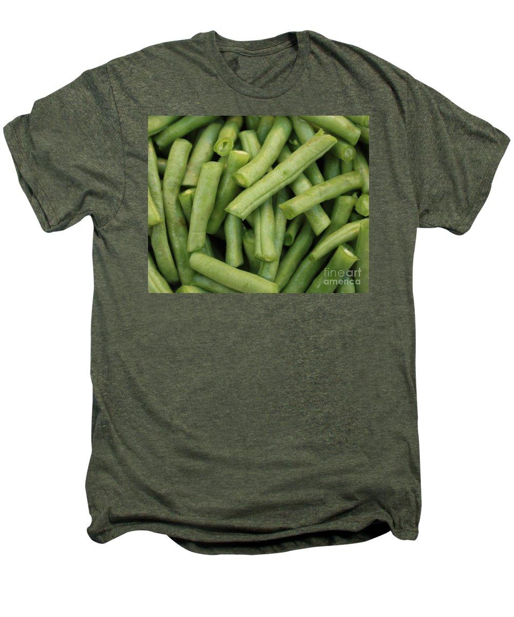 Foods Men's Premium T-Shirt featuring the photograph Green Beans Close-up by Carol Groenen