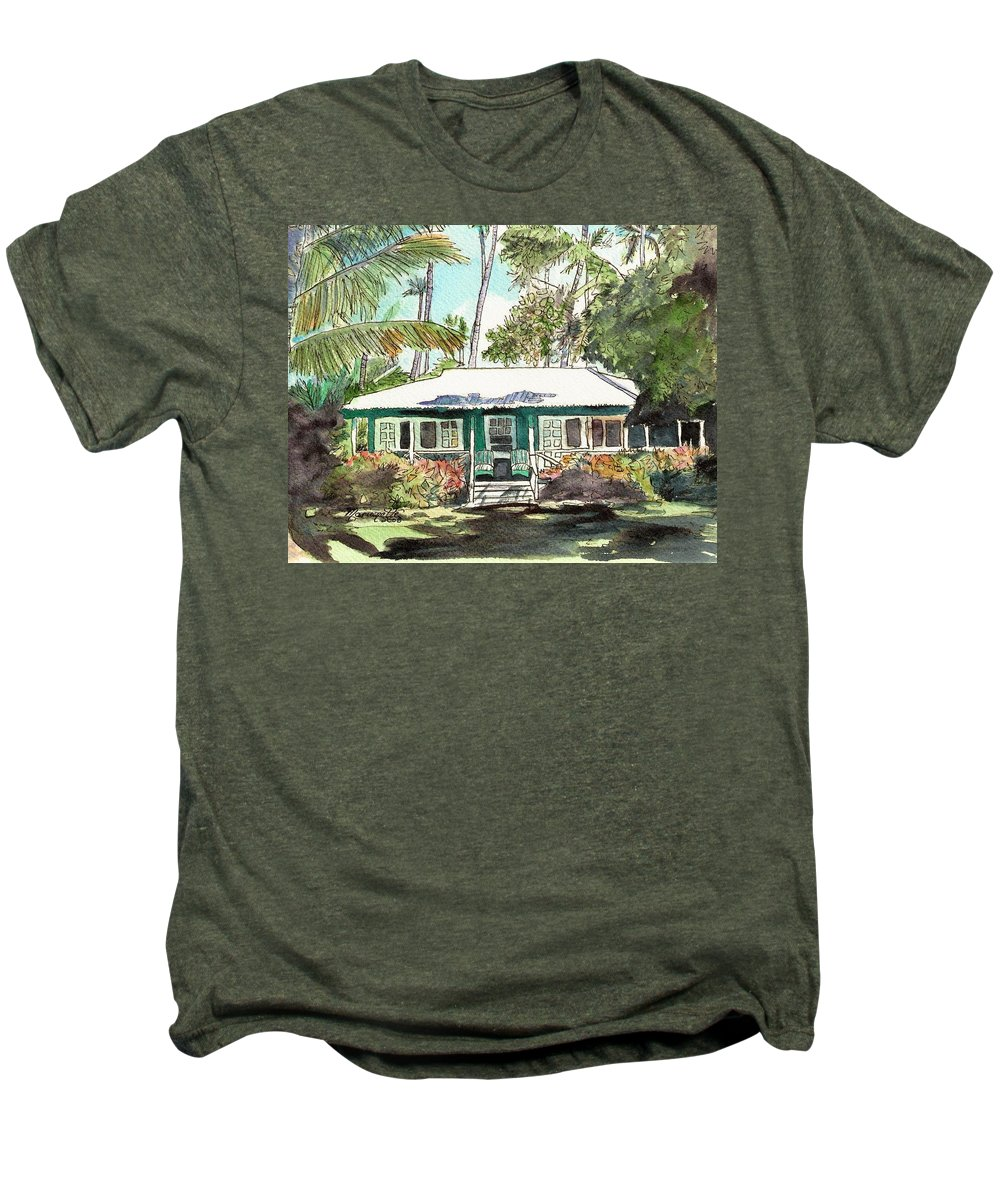 Cottage Men's Premium T-Shirt featuring the painting Green Cottage by Marionette Taboniar