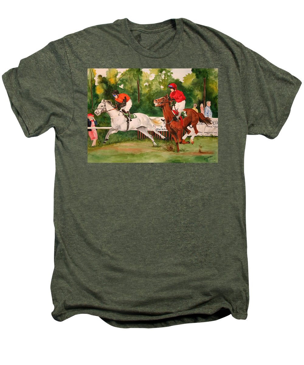 Racing Men's Premium T-Shirt featuring the painting Homestretch by Jean Blackmer
