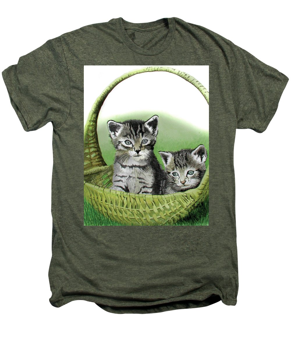 Cat Men's Premium T-Shirt featuring the painting Kitty Caddy by Ferrel Cordle
