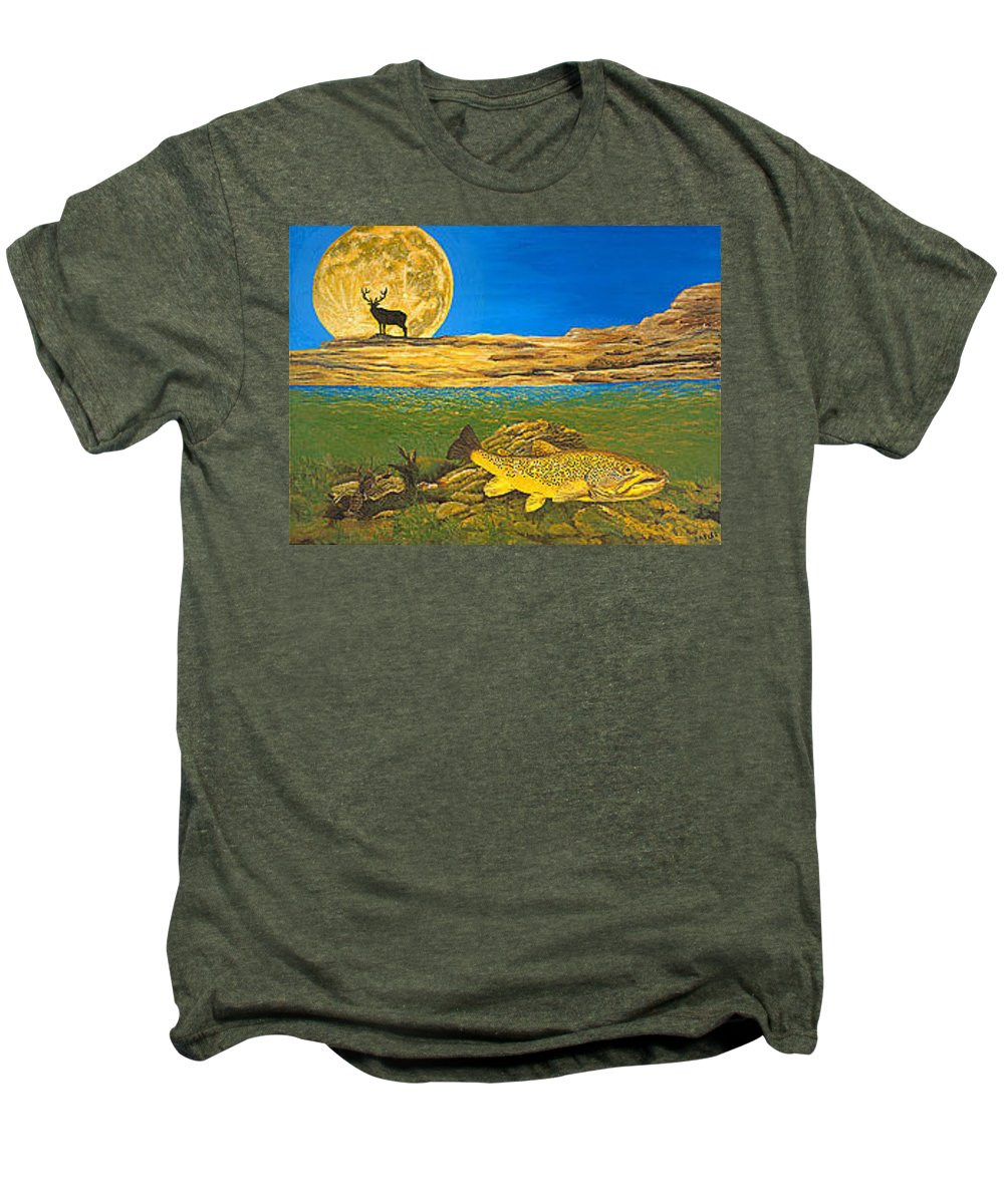 Artwork Men's Premium T-Shirt featuring the painting Landscape Art Fish Art Brown Trout Timing Bull Elk Full Moon Nature Contemporary Modern Decor by Baslee Troutman