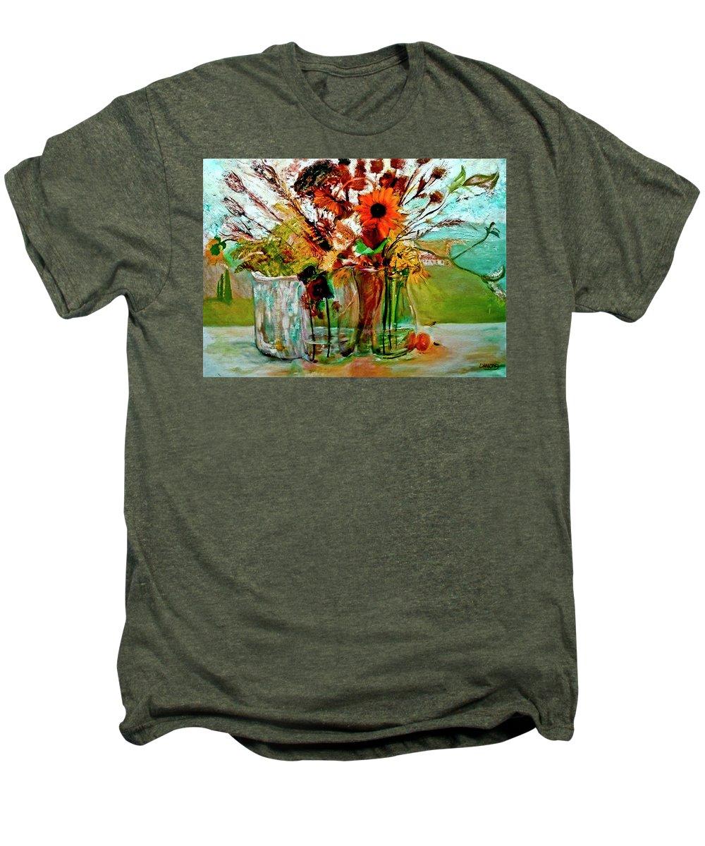 Flowers Jar Glass Thistle Picnic Green Lemon Rose Men's Premium T-Shirt featuring the painting Late Summer by Jack Diamond