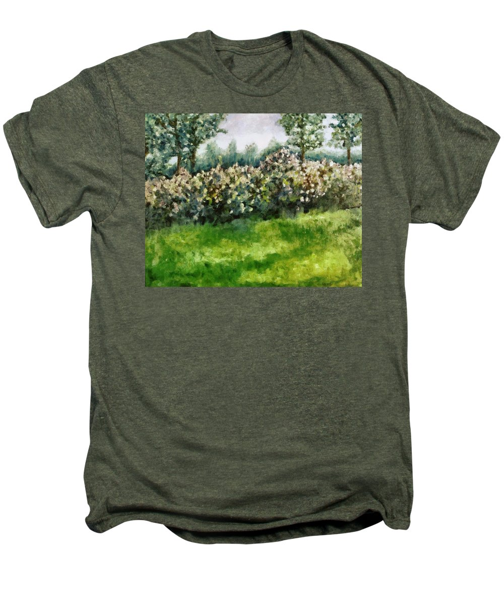 Spring Men's Premium T-Shirt featuring the painting Lilac Bushes In Springtime by Michelle Calkins