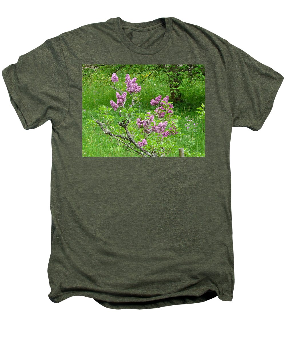 Flower Men's Premium T-Shirt featuring the photograph Lilac In The Spring Meadow by Valerie Ornstein