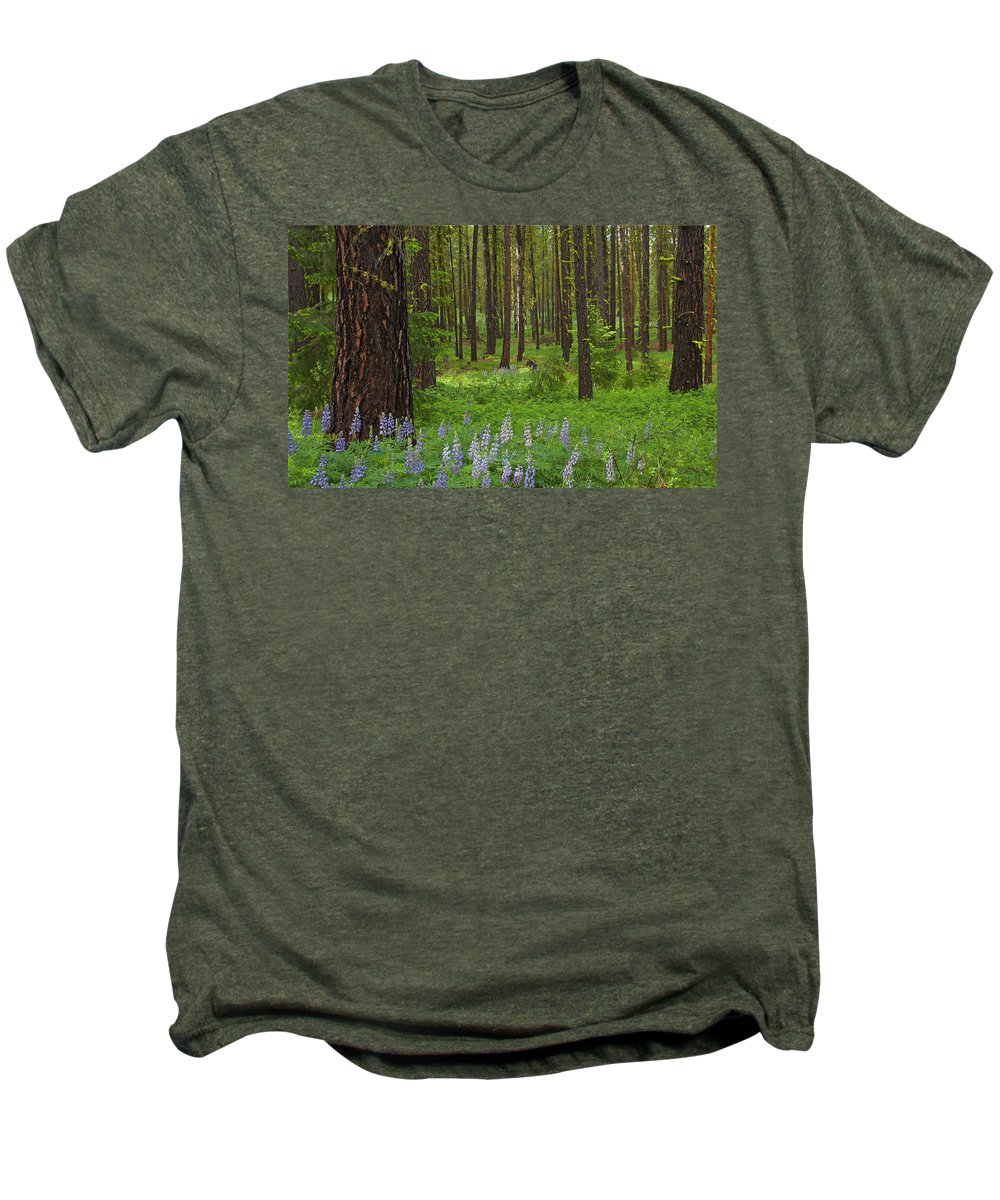 Forest Men's Premium T-Shirt featuring the photograph Lupine Carpet by Mike Dawson