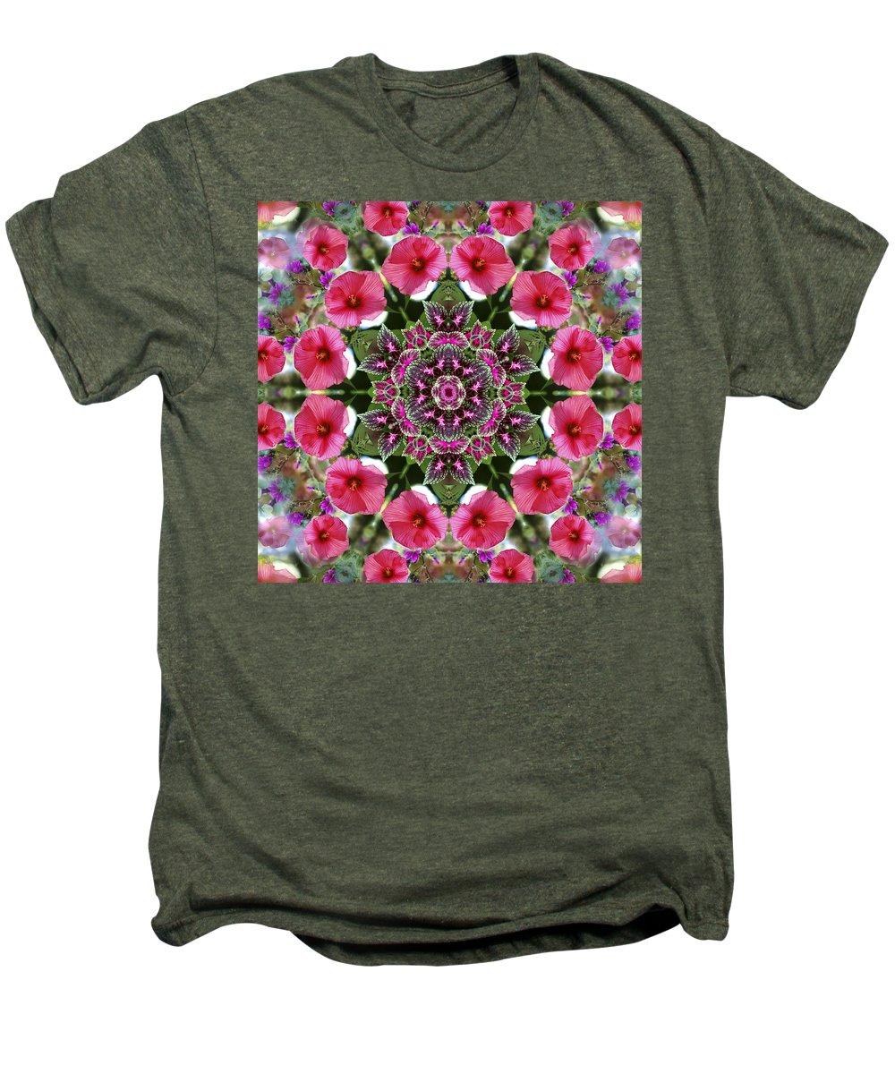 Mandala Men's Premium T-Shirt featuring the digital art Mandala Pink Patron by Nancy Griswold