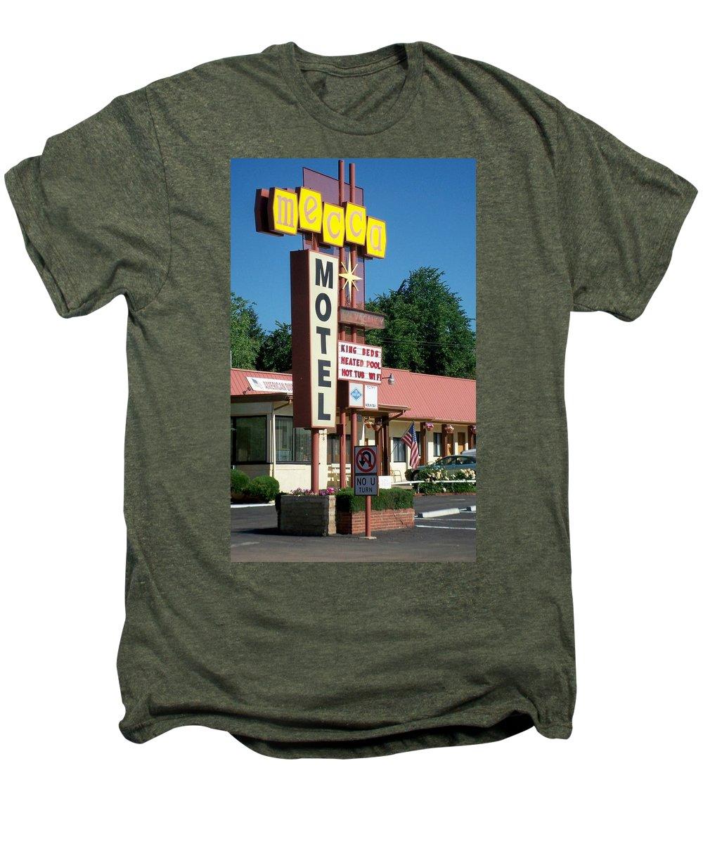 Vintage Motel Signs Men's Premium T-Shirt featuring the photograph Mecca Motel by Anita Burgermeister